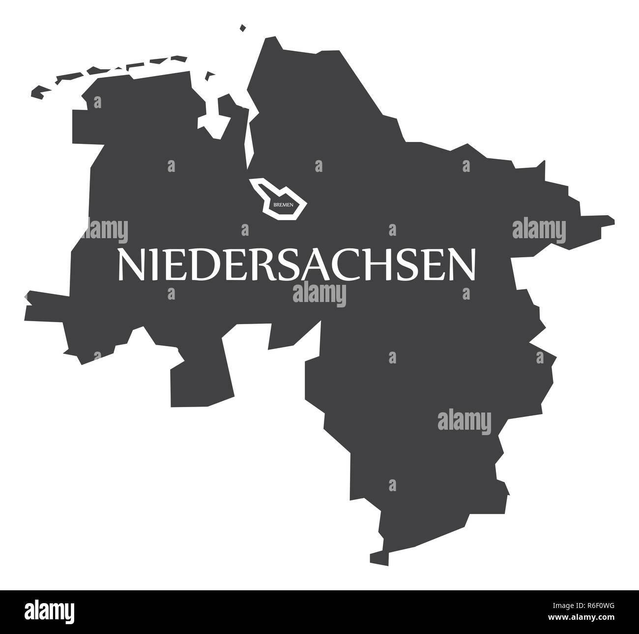 Bundesland Bremen Karte.Niedersachsen Bremen Bundesländer Karte Von Deutschland Schwarz
