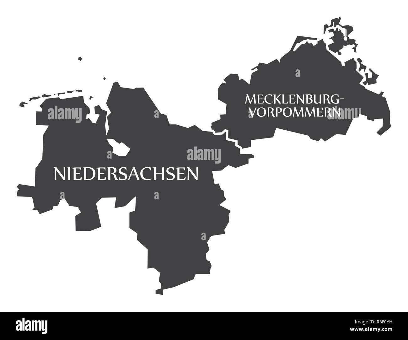 Deutschland Karte Bundesländer Schwarz Weiß.Niedersachsen Mecklenburg Vorpommern Bundesländer Karte Von