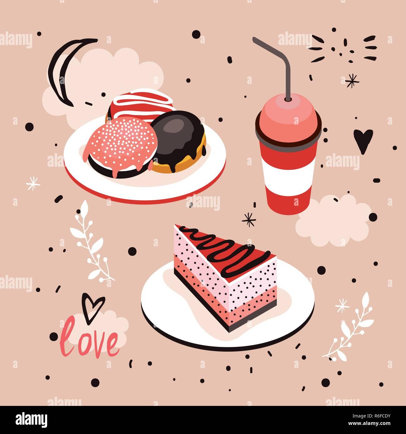 Leckeres Essen Suss Menu Dessert Set Donut Kuchen Kaffee Tasse Vector