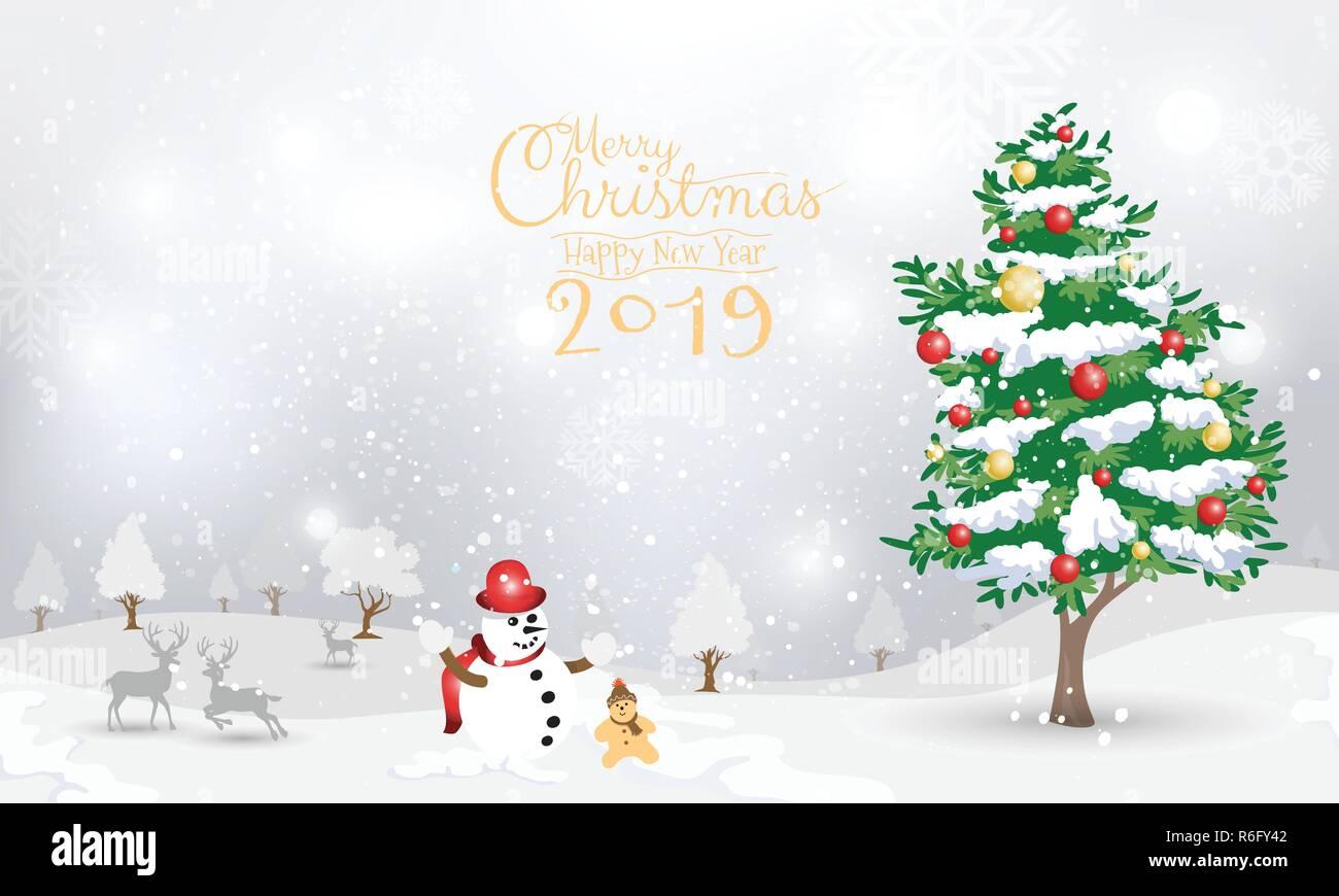 Weihnachten 2019 Schnee.Schneemann Und Weihnachtsbaum Auf Schnee Hintergrund Design Für