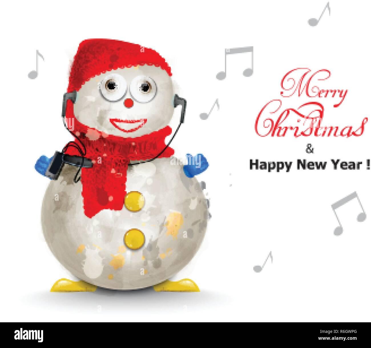 Frohe Weihnachten Musik.Frohe Weihnachten Süße Schneemann Musik Vektor Aquarell Urlaub