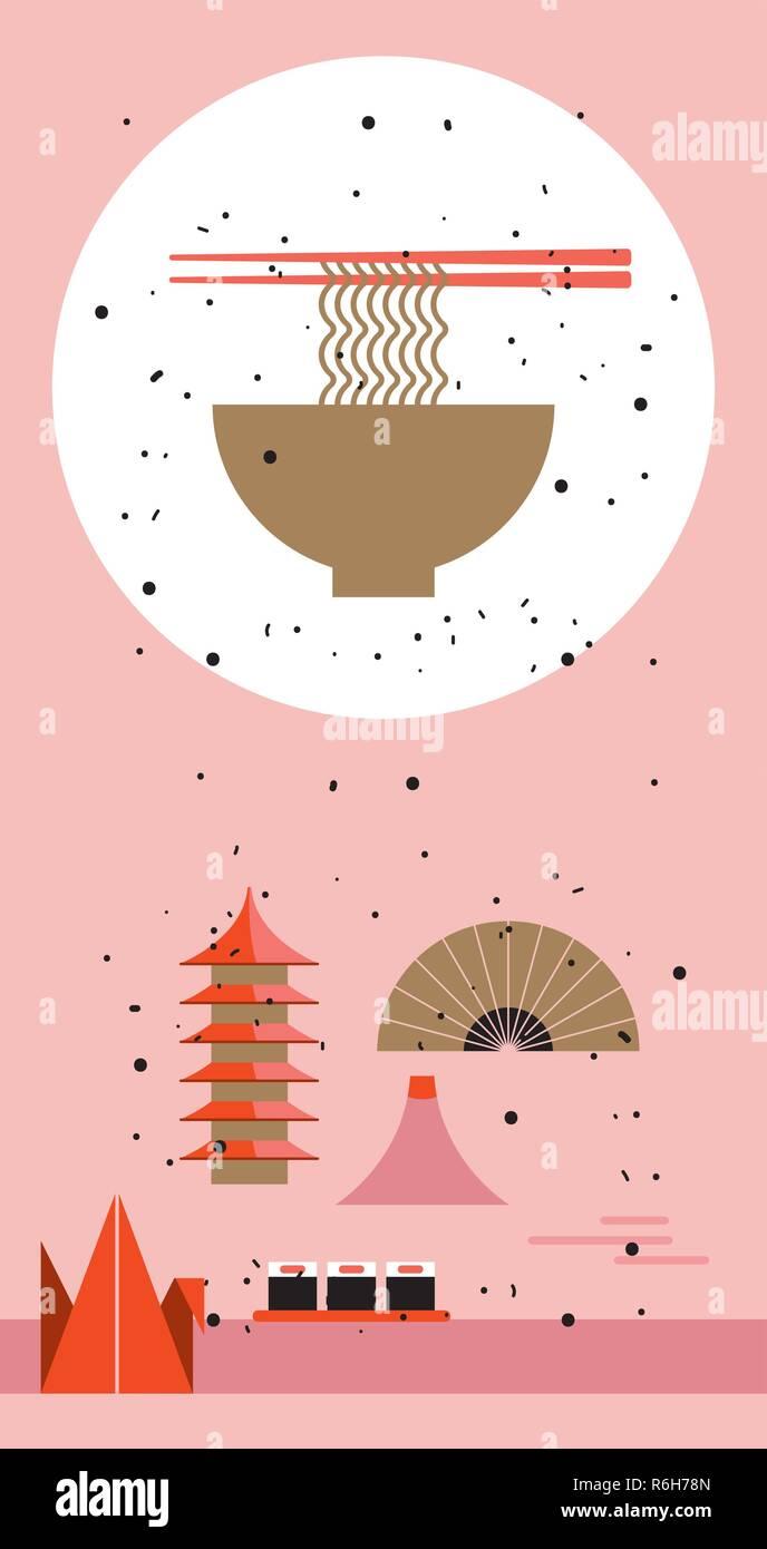 Gentil Japan Reisen Poster Japanische Küche Design Elemente Schüssel Nudeln Vector  Illustration