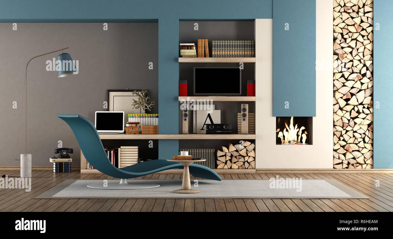 Blau und Braun Wohnzimmer mit Kamin Stockfoto, Bild: 227807180 - Alamy