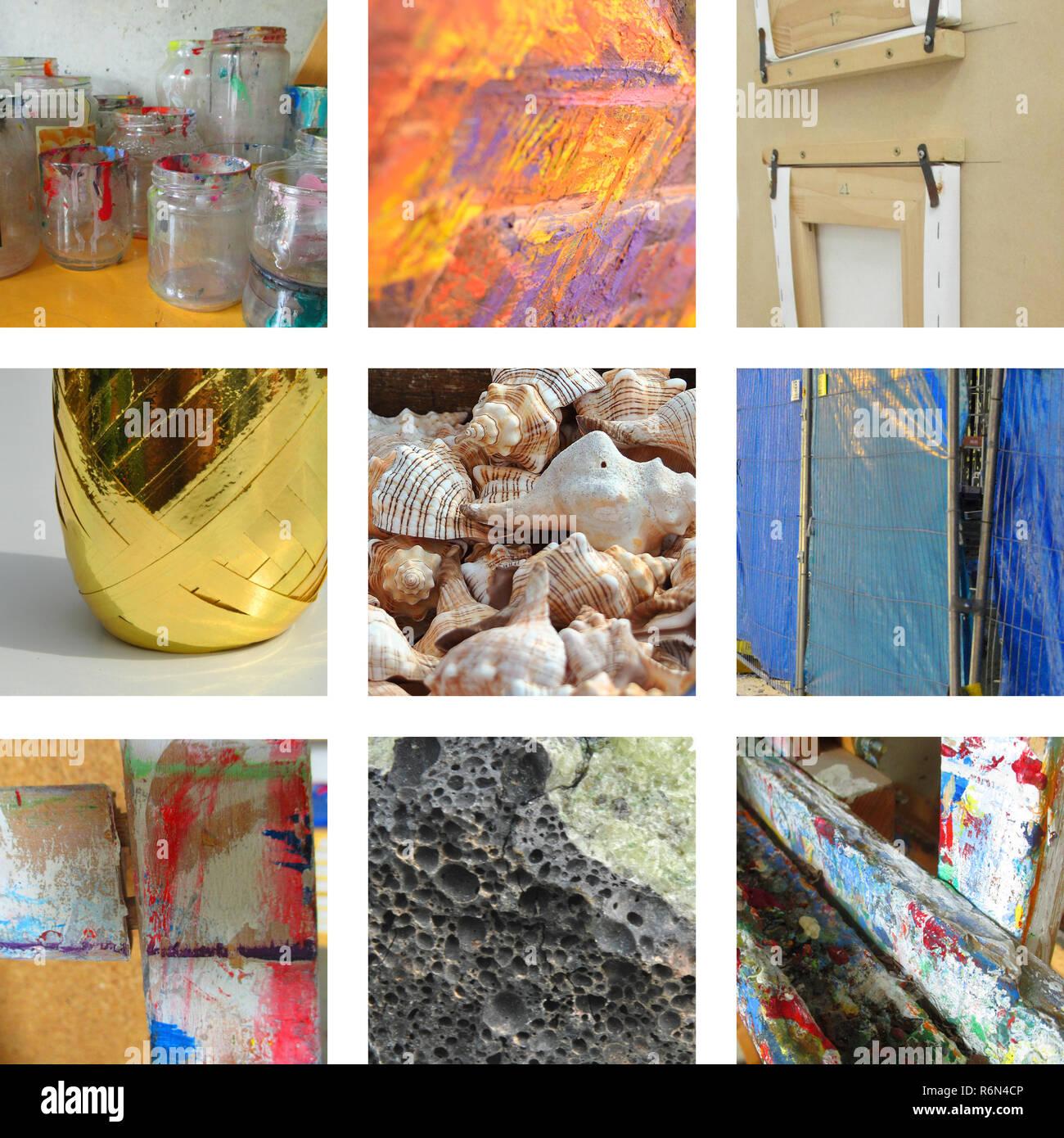 Neun Bilder mit Kunst der Werkraum Stockbild