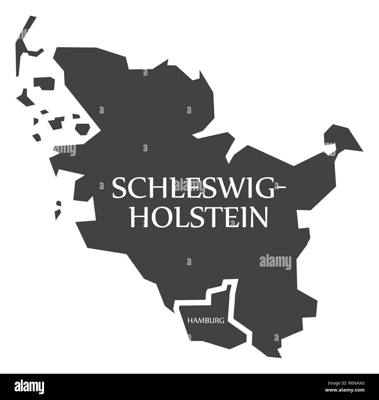 Deutschland Karte Bundesländer Schwarz Weiß.Schleswig Holstein Hamburg Bundesländer Karte Von Deutschland
