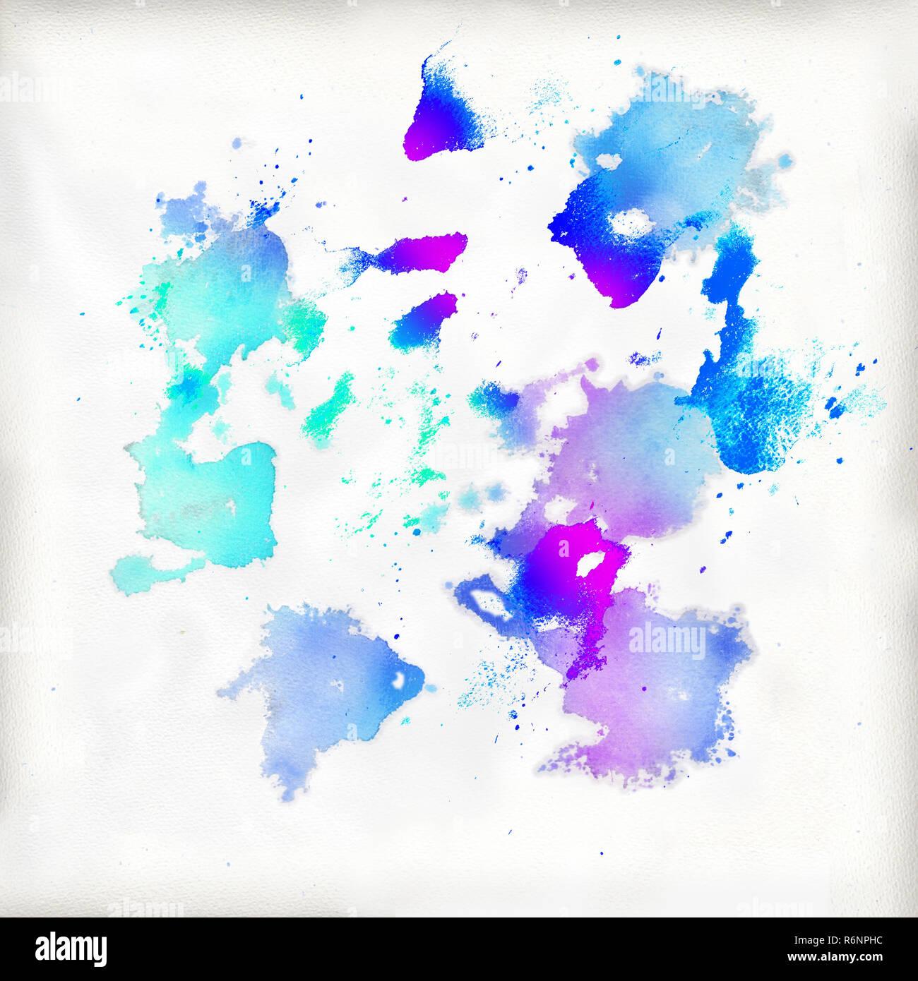 Viele Farbtupfer auf einem aquarell papier Stockbild