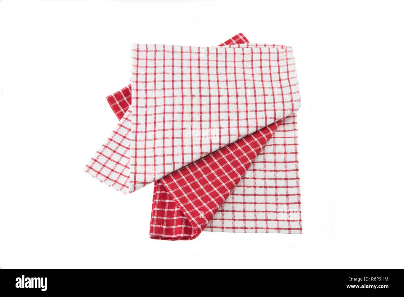 Küche Bettwäsche Rot Weiß Auf Weißem Hintergrund Kariert Stockfoto