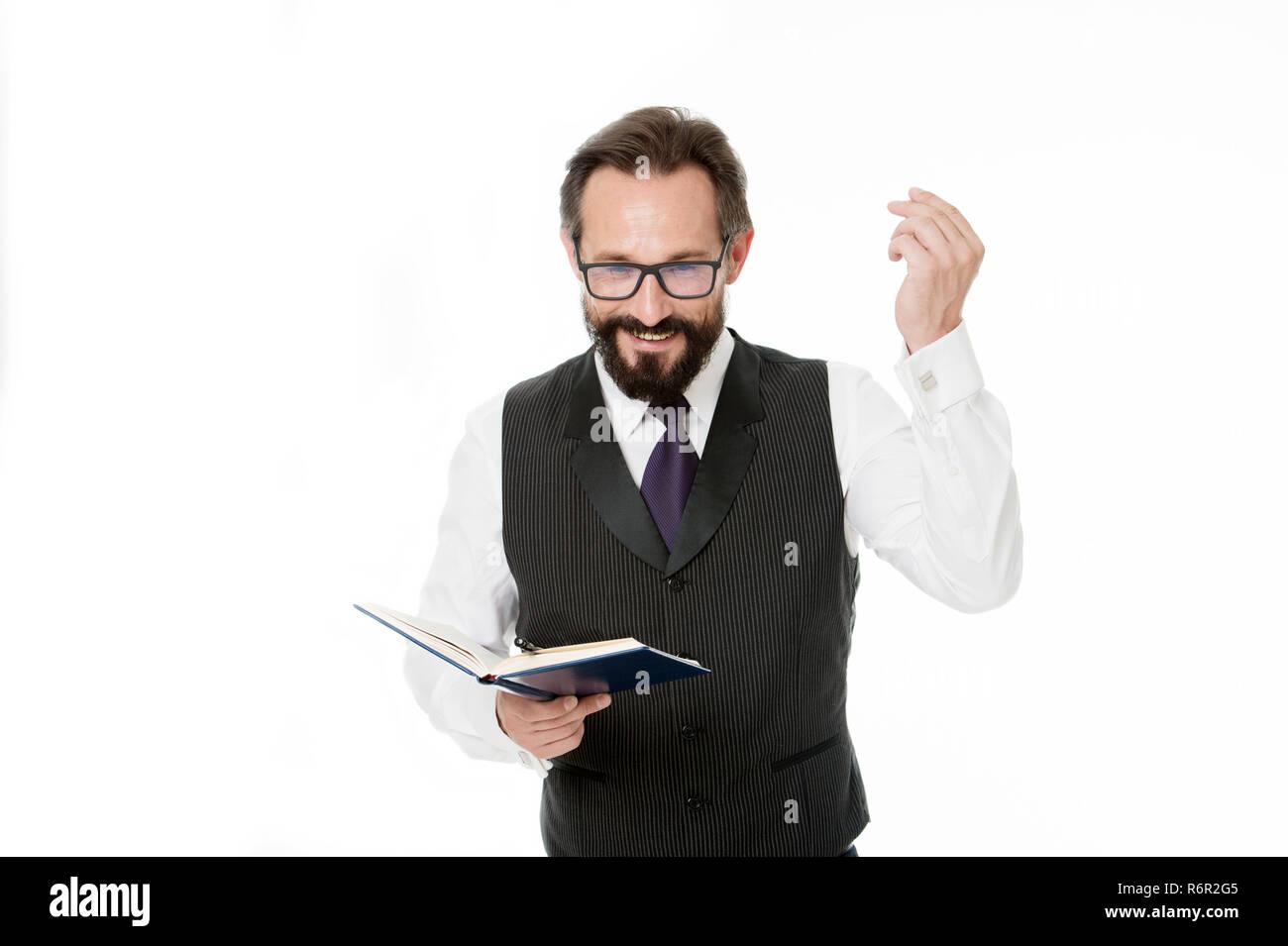 Erfolgreicher Geschäftsmann motivationale inspirierende Rede erstellen Sie isolierte Weiß. Geschäftsmann planning Business Plan mit dem Notepad. Motivierende Literatur konzept. Man bärtige manager Plan erstellen. Stockbild