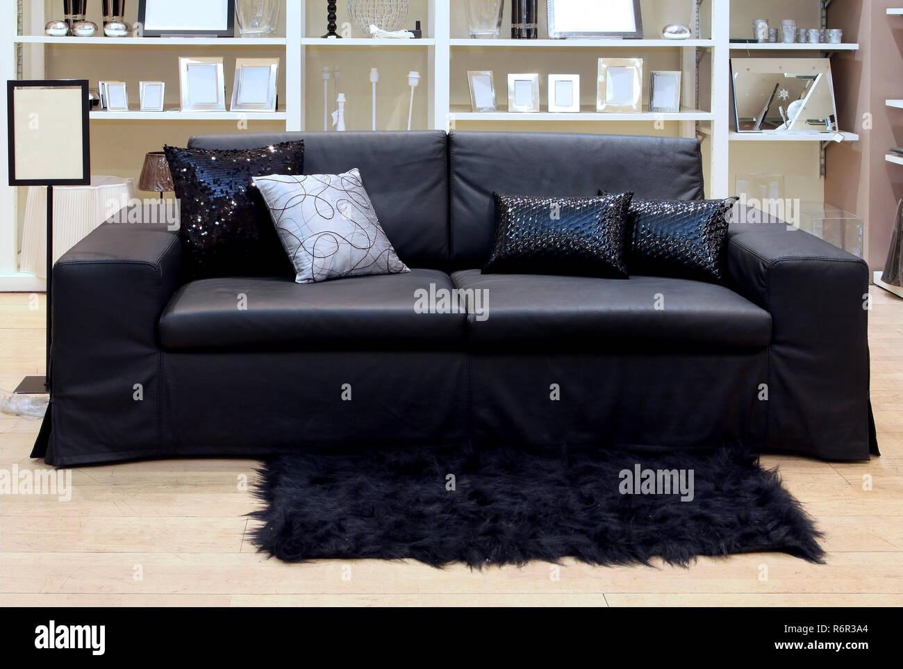 Interior Black Leather Sofa Glass Stockfotos & Interior ...