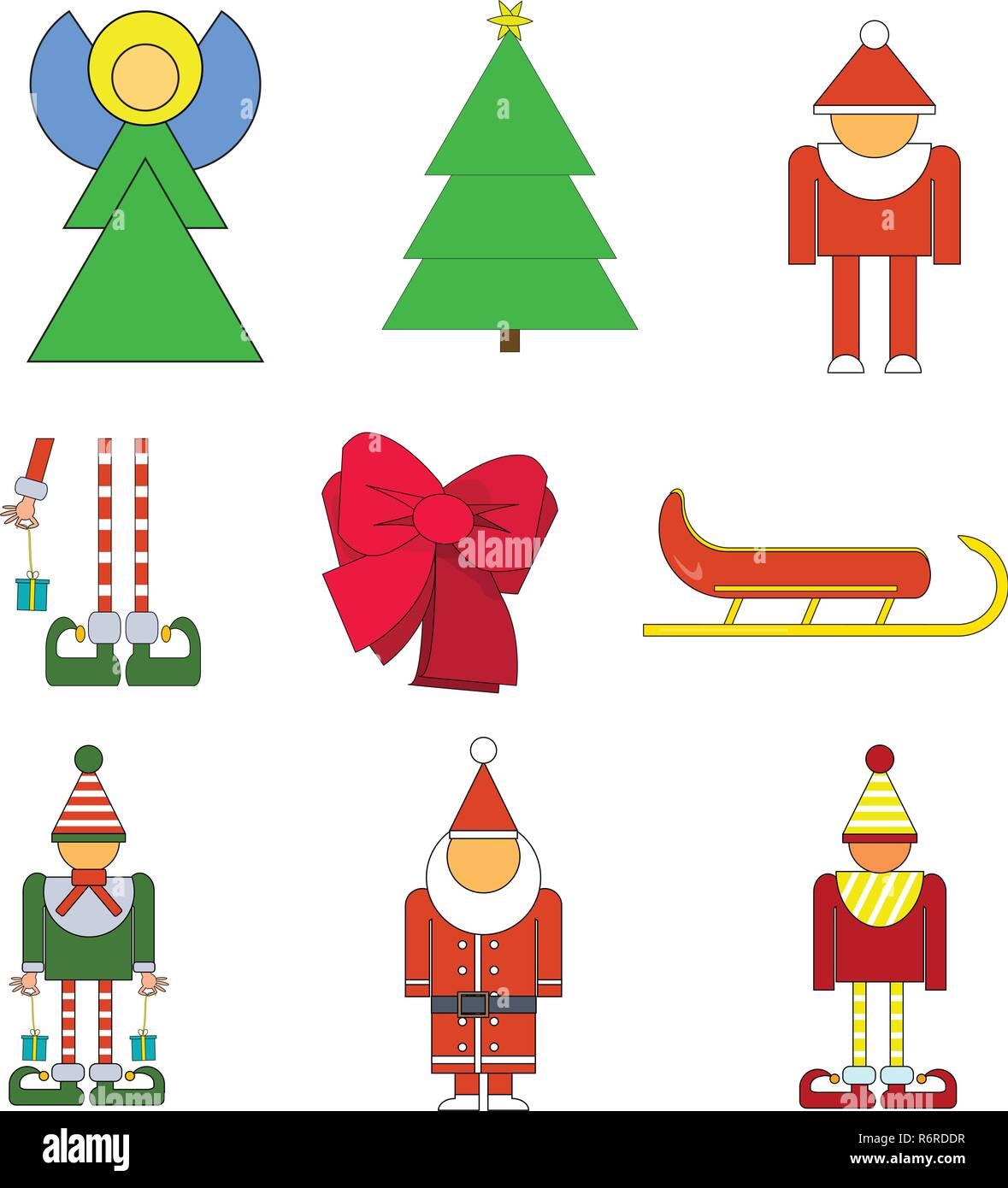 Set Weihnachten Objekte Vector Illustration Von Elf Santa