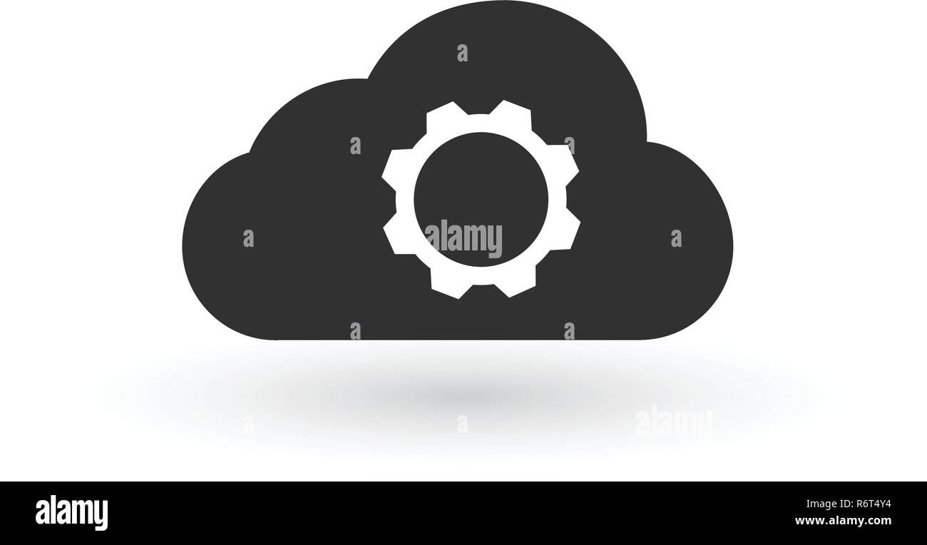 """Cloud Storage Einstellungen lineare Symbol. Web Hosting """"Einstellungen"""". Cloud Computing mit Zahnrad Kontur Symbol. Vector Illustration auf weißem Hintergrund. Stock Vektor"""