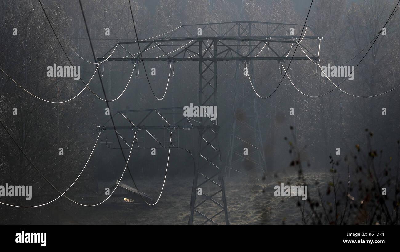 Bad Schlema, Deutschland. 23 Nov, 2018. Hochspannungsleitungen/ gegen das Licht, das in einem Waldgebiet in der Nähe von Bad Schlema. Kredite: Jan Woitas/dpa-Zentralbild/ZB/dpa/Alamy leben Nachrichten Stockbild