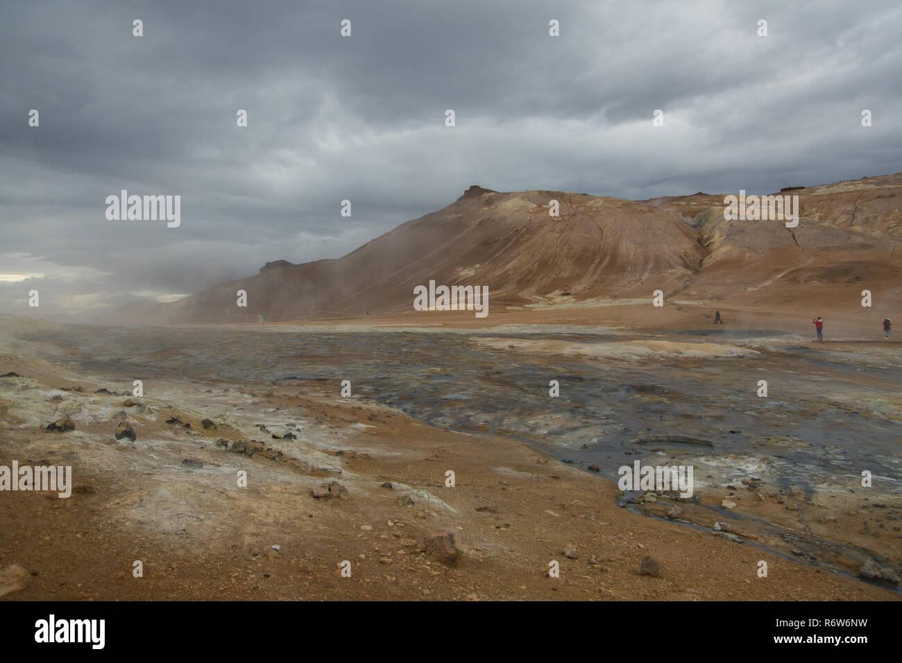 Bei Hverir, Namafjall, Island Stockbild
