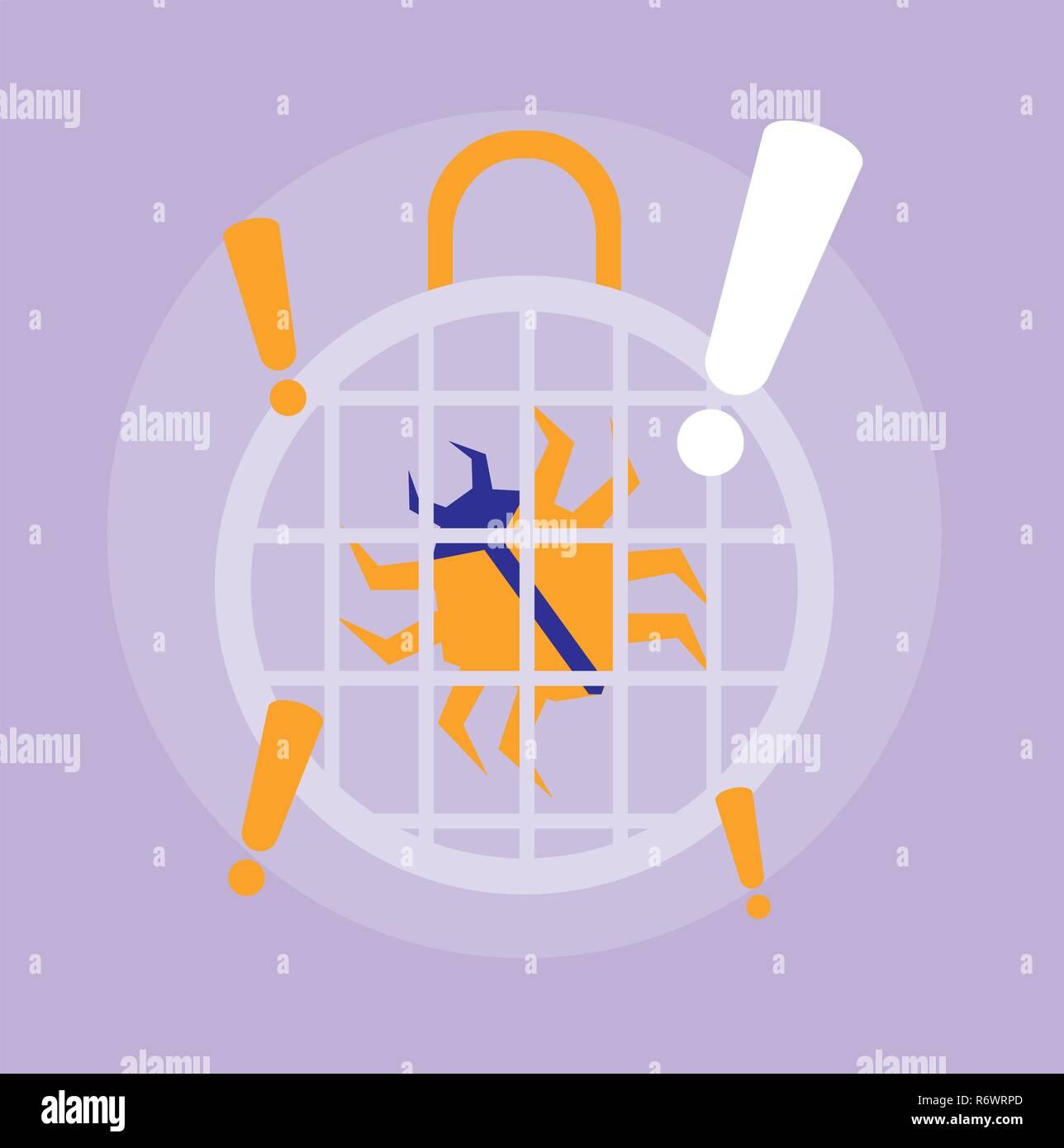 Bug Virus Infektion Informationstechnologie Vector Illustration Design Stockbild
