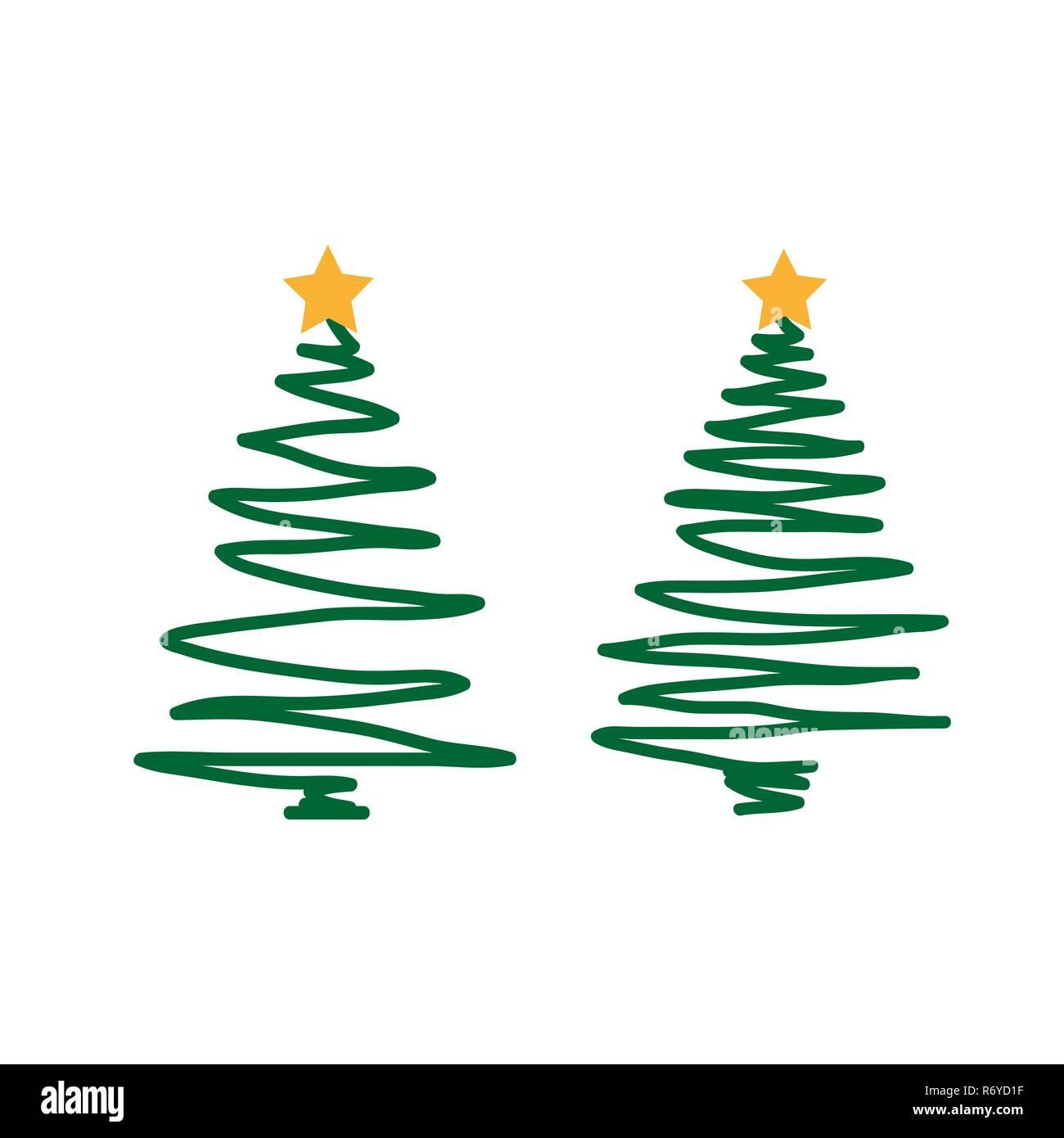 Weihnachtsbaum Gezeichnet.Hand Gezeichnet Weihnachtsbaum Auf Weißem Hintergrund Vektor