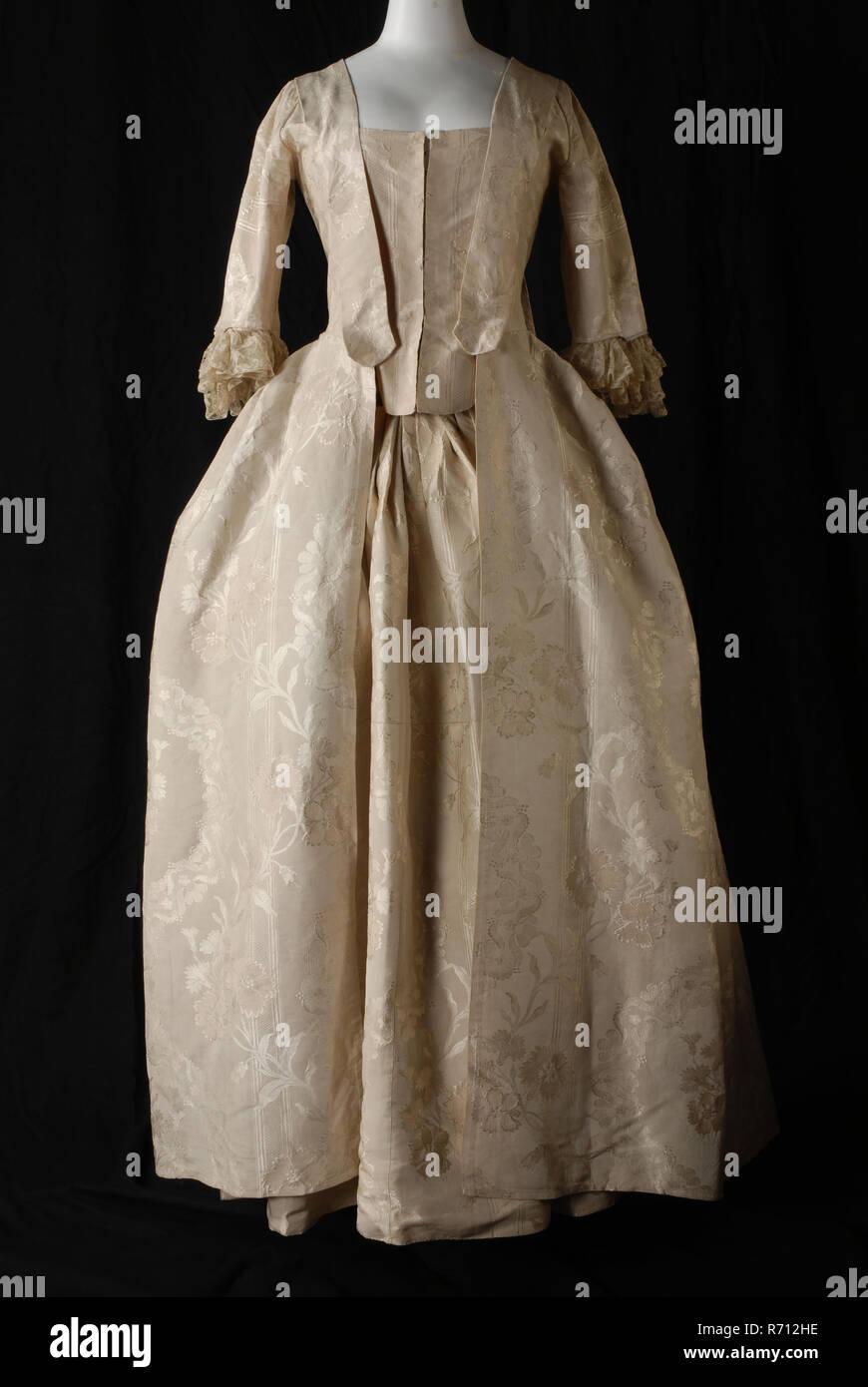 2-teiliges kleid in creme seide seide mit großen blumen
