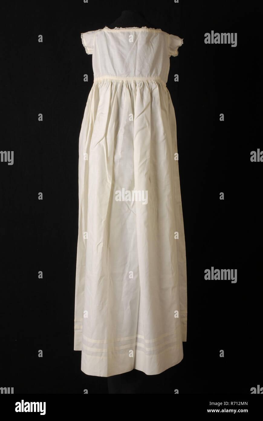 kleid oder taufe kleid in weiß baumwolle, gerader hals