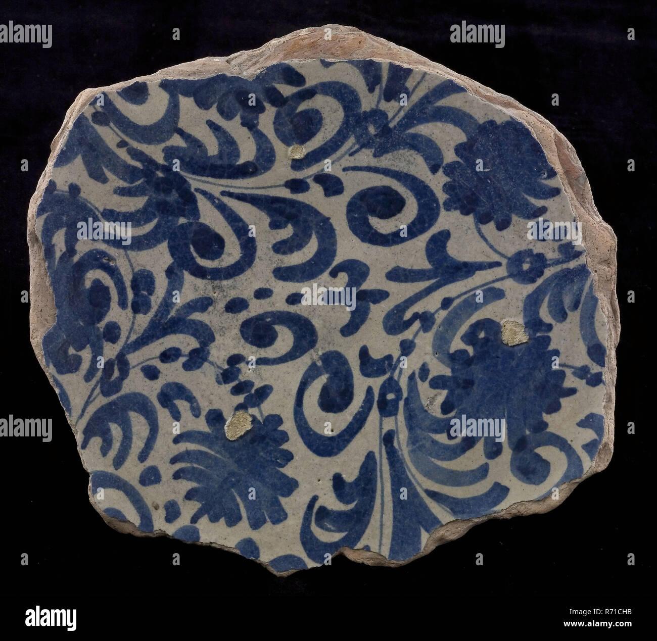 Fragment Majolika Teller Blau Auf Weiß Italienisch Aussehende