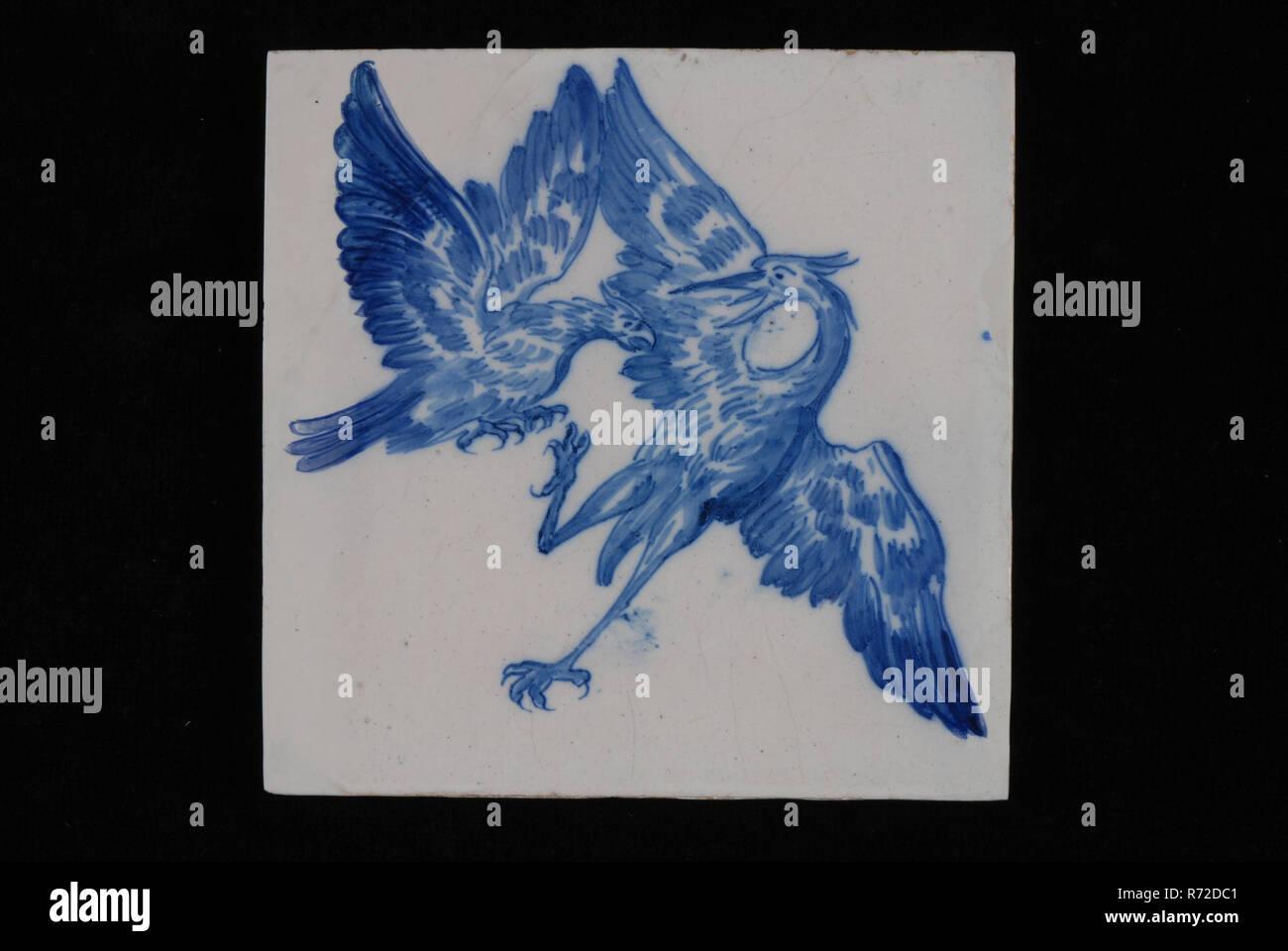 Jan Aalmis Sr Blau Weisse Fliesen Mit Falcon Angreifenden Heron