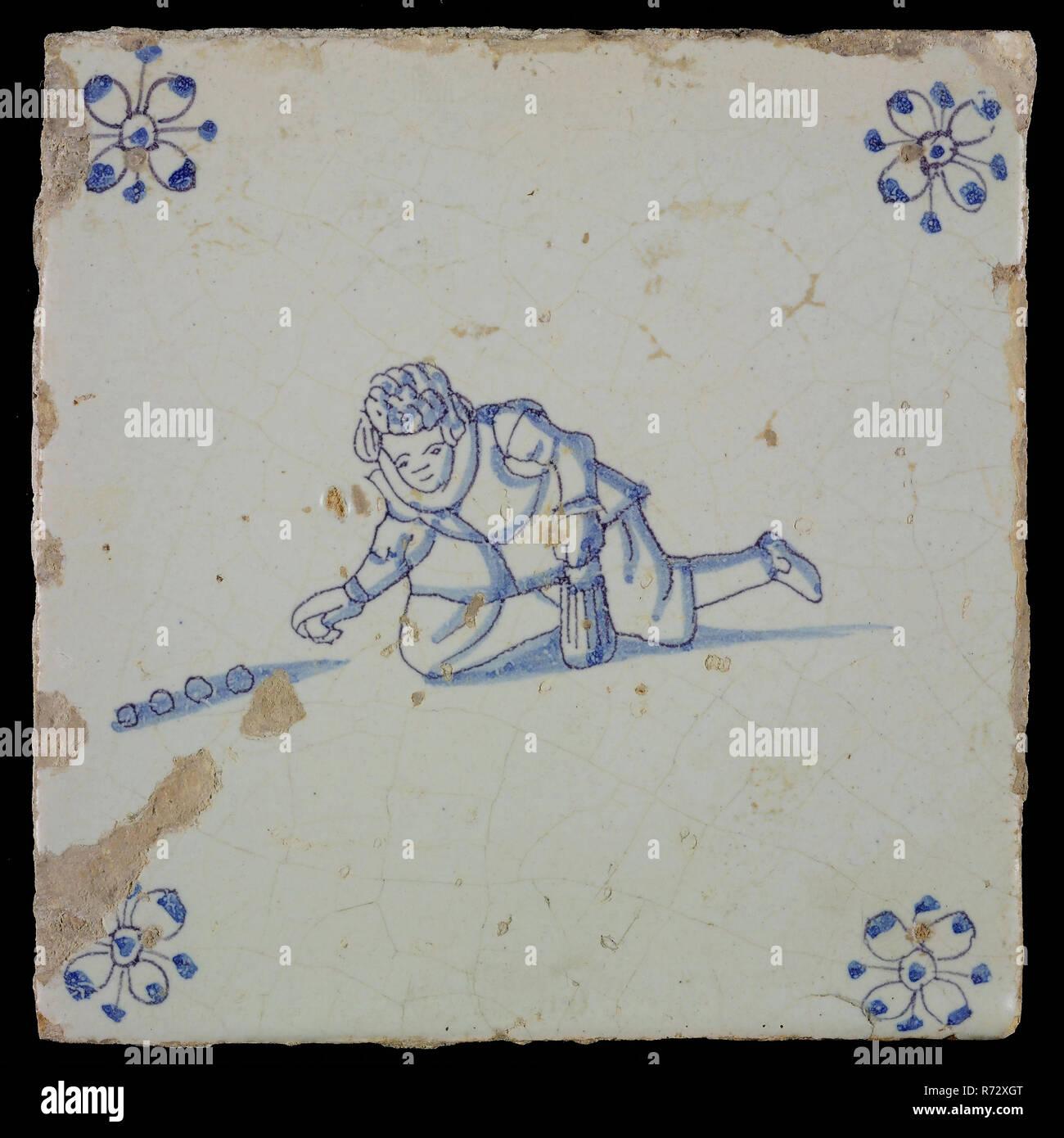 Szene Fliesen Kinderspiel Marmor Ecke Motiv Spinne Wandfliese