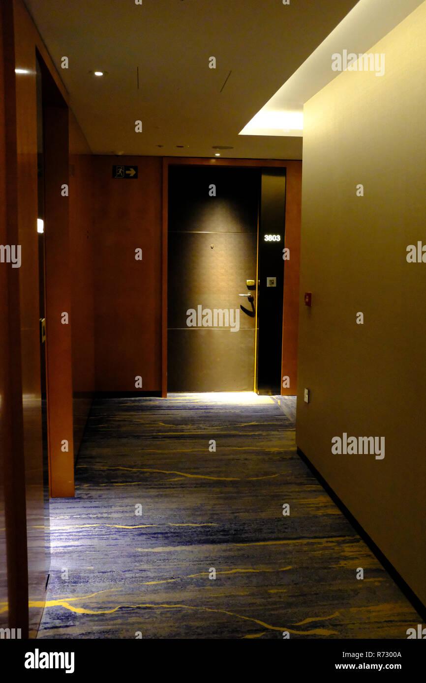 Flure im Shangri La Hotel an der Shard London UK Stockbild