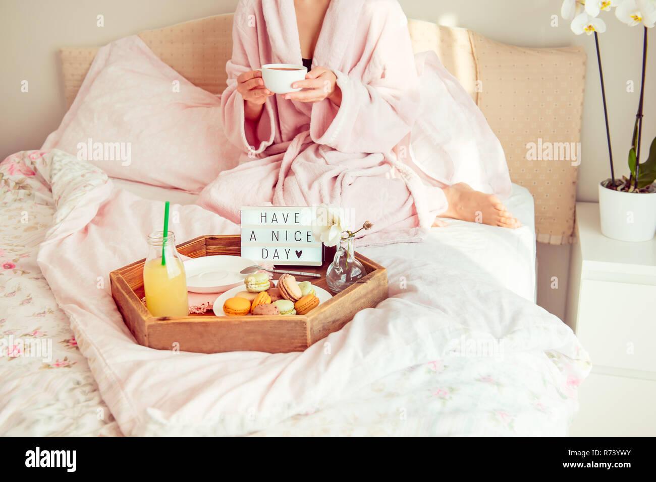 Guten Morgen Konzept Frühstück Im Bett Mit Ihnen Einen