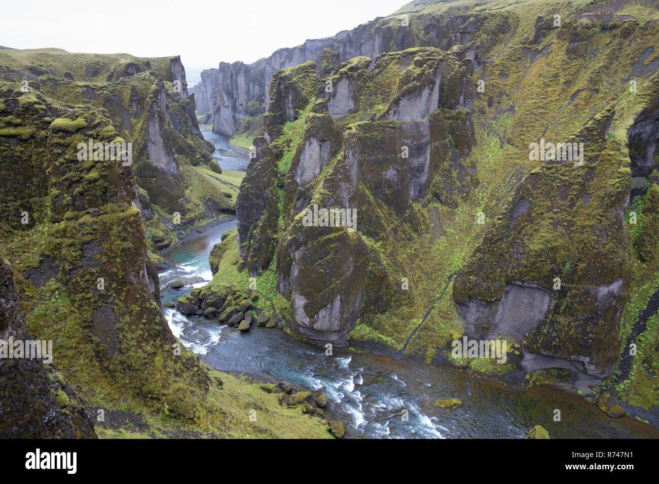 - Schlucht Fjaðrárgljúfur, Fjathrargljufur-Schlucht, Schlucht, Canyon im Süden von Island, durch die Schlucht fliesst der namensgebende Fluss Fjaðrá, können Stockbild