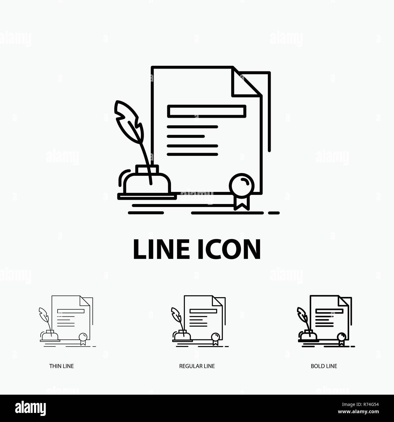 Vertrag Papier Dokument Vereinbarung Award Symbol In Thin