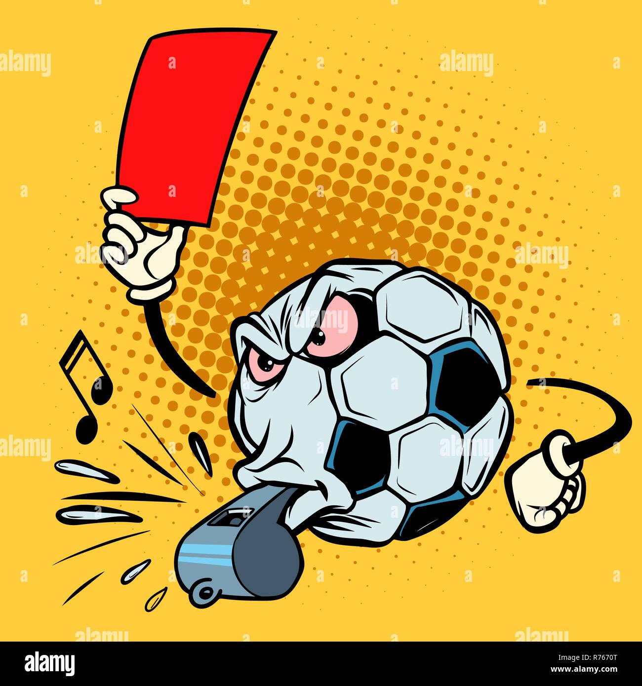 Rote Karte Schiedsrichter Pfeifen Fussball Fussball Lustige