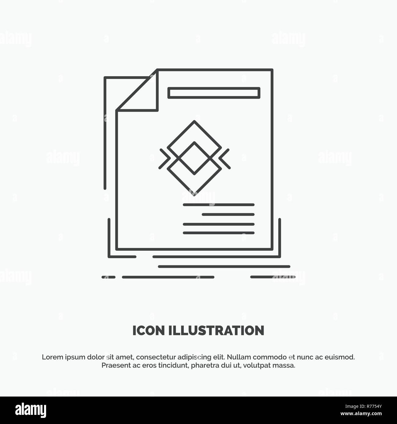 Anzeige Anzeige Prospekt Magazin Seite Symbol Linie Vektor