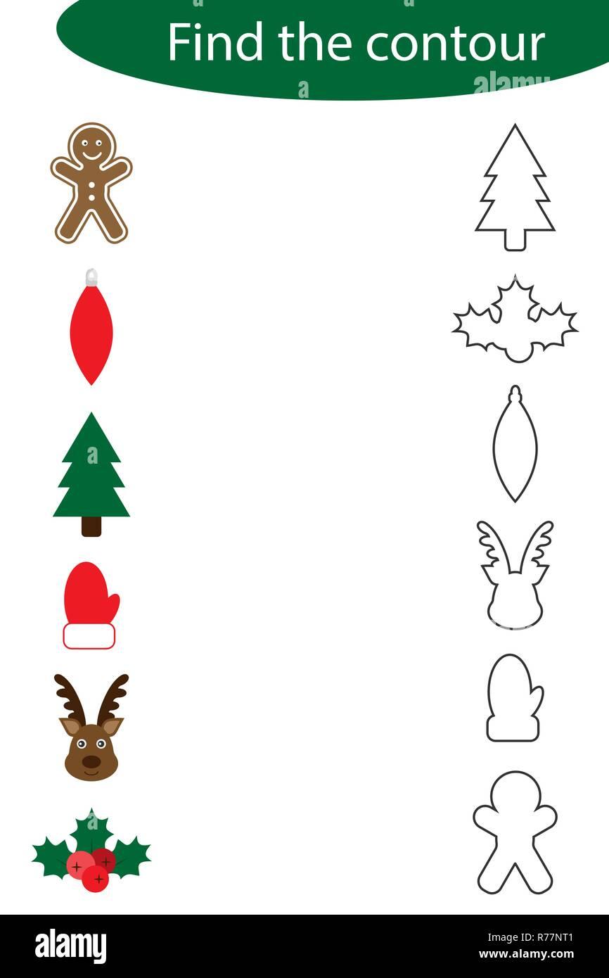 Die Kontur Spiel mit Weihnachten Bilder für Kinder finden, Bildung ...