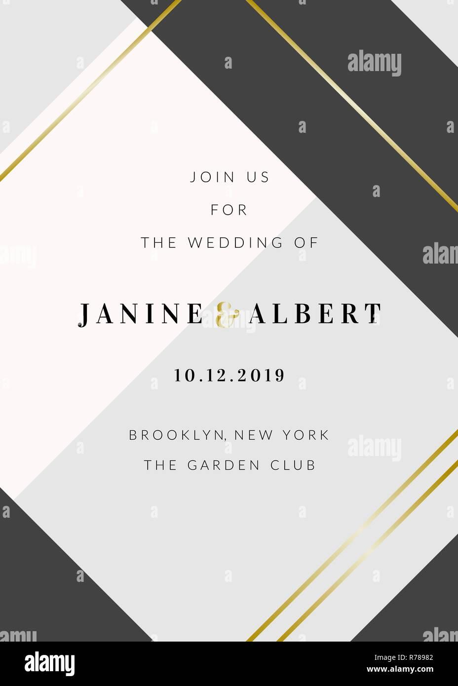 Hochzeit Einladung Vorlage Mit Geometrischen Elementen In