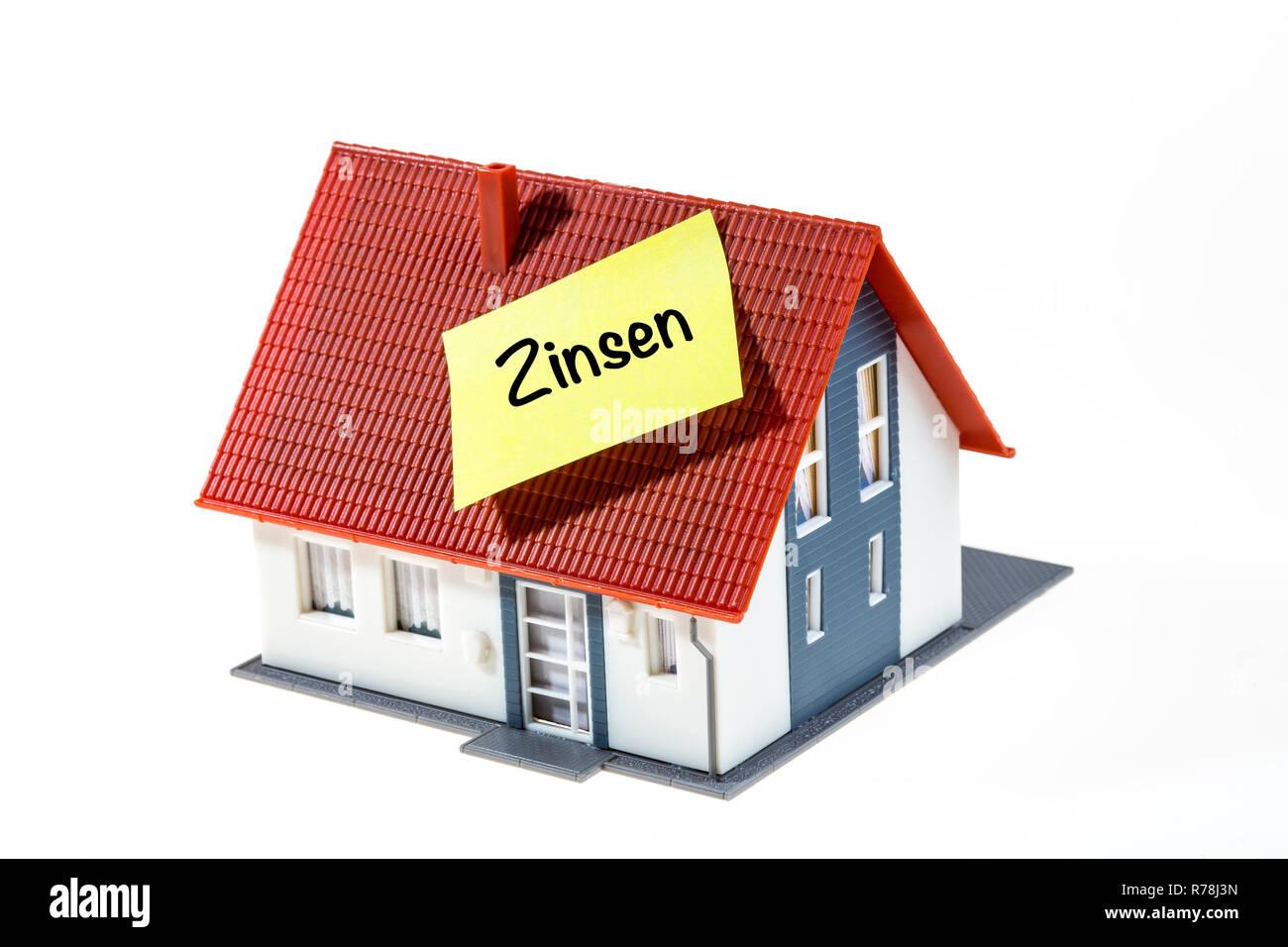 Immobilien, Baufinanzierung Zinsen, Deutsche Sprache Stockbild