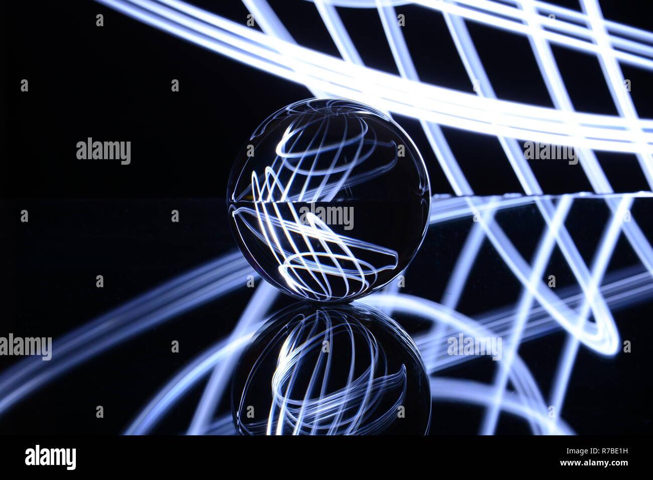 Glaskugel, Licht Kunst, Licht, Hintergrund Stockbild