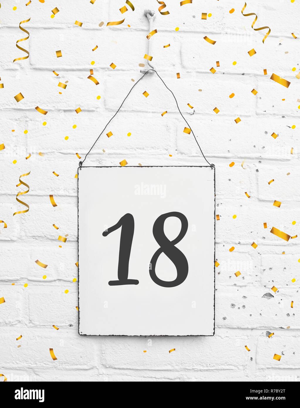 18 Achtzehn Jahre Alt Geburtstag Karte Text Mit Goldenen Konfetti