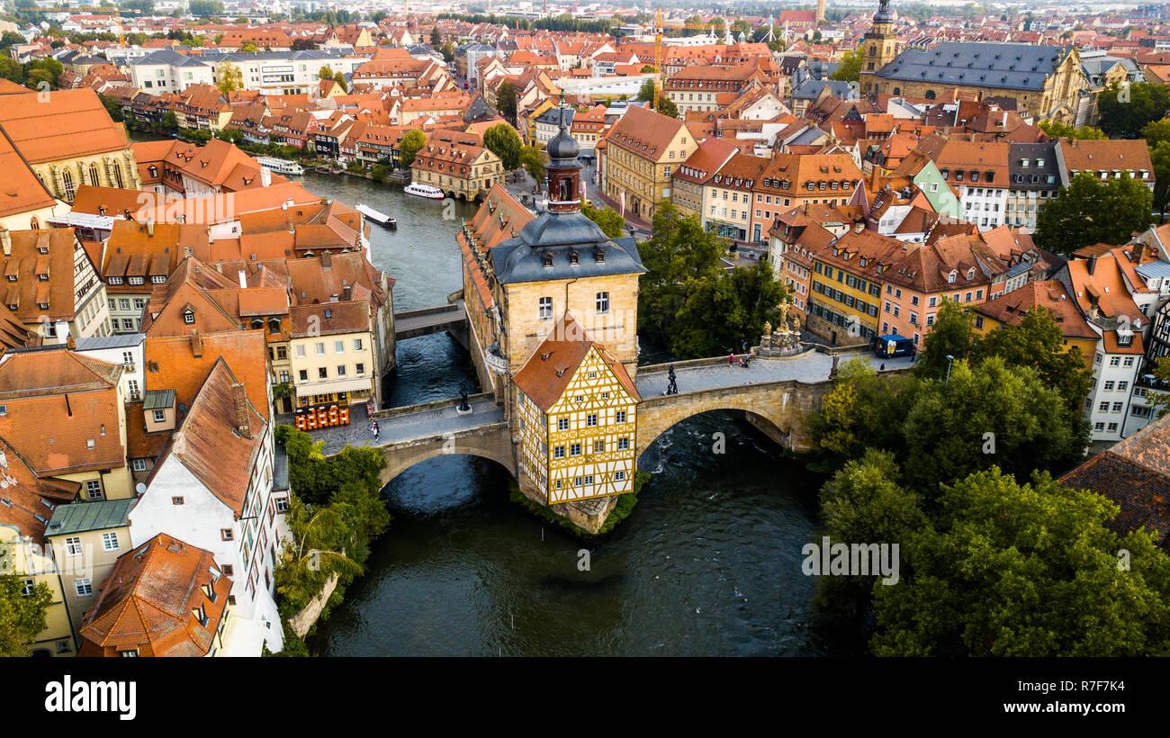 Alte Rathaus oder Altes Rathaus, Bamberg, Bayern, Deutschland Stockbild