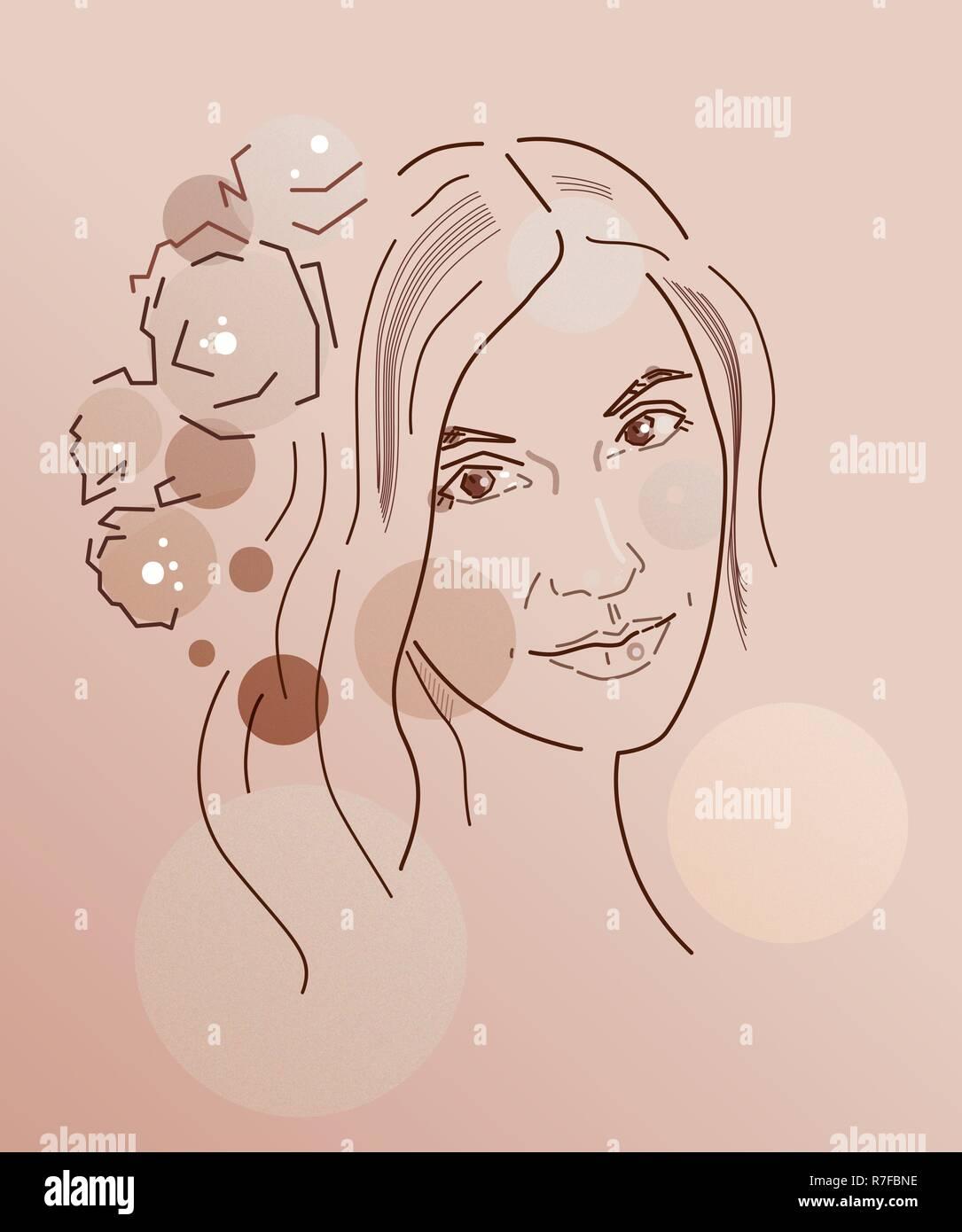 Abstrakte Zeichnung des Gesichts ein Mädchen in einem Kranz aus Blumen, von Hand zeichnen, Computer Graphics. Für Print, Plakat, Avatar, Artikel Abbildung. Stockbild