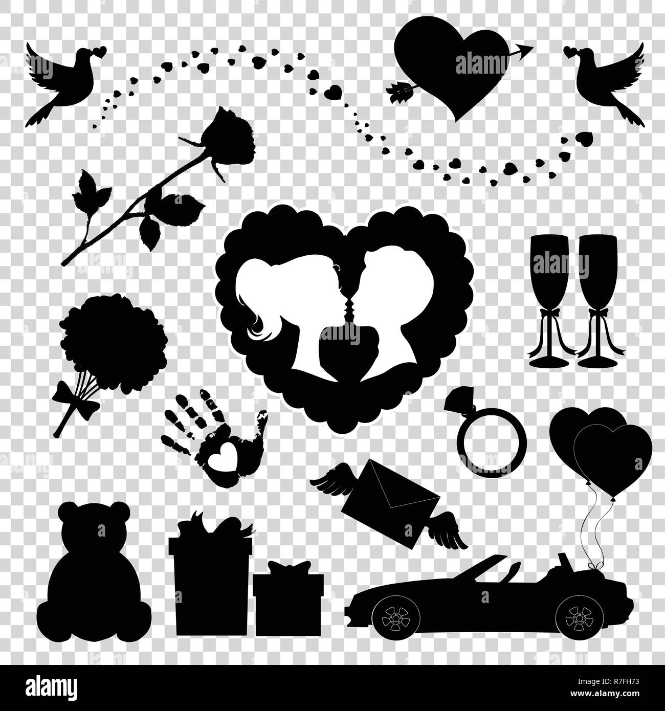 Love Liebe Hochzeit Wedding Silhouette Brautpaar Schwar: Wedding Car With Just Married Sign Stockfotos & Wedding