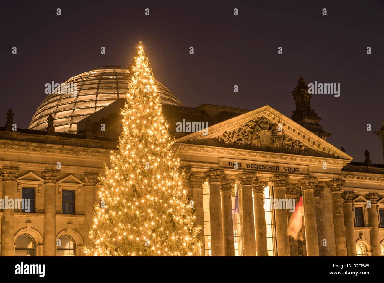Weihnachtsbaum Berlin.Weihnachtsbaum Vor Der Reichstag Berlin Stockfoto Bild 228384612