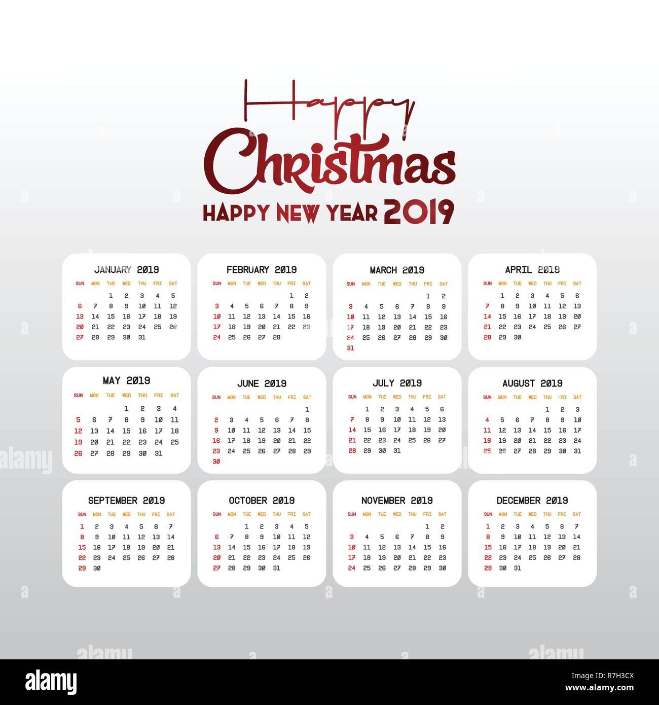 Kalender Weihnachten 2019.2019 Vorlage Kalender Weihnachten Und Ein Glückliches Neues Jahr