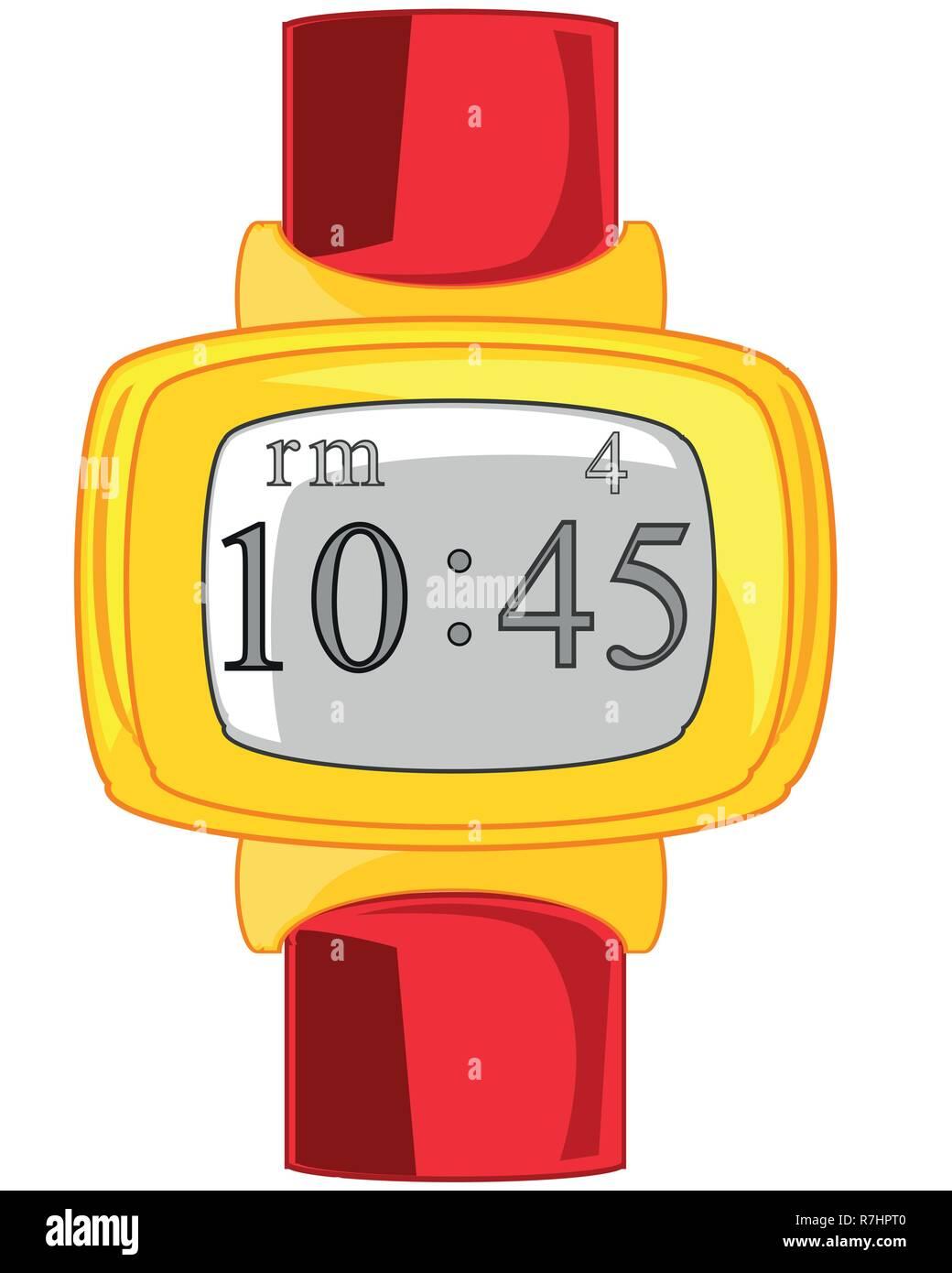 Elektronischen Uhr auf weißem Hintergrund isoliert ist Stockbild