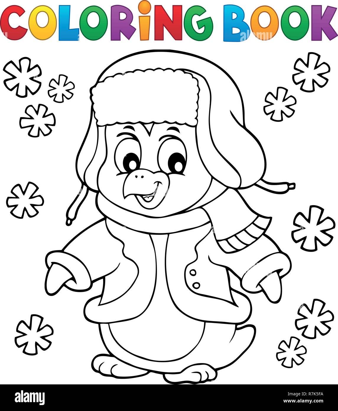 Malvorlagen Winter pinguin Thema 1 - Eps 10 Vector Illustration. Stock Vektor