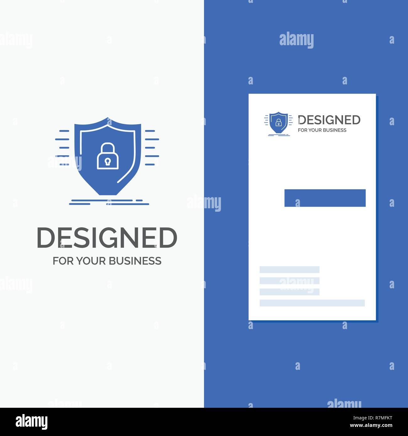 Business Logo für Verteidigung, Firewall, Schutz, Sicherheit, Schild. Vertikale blaue Business/Visitenkarte vorlage. Stock Vektor