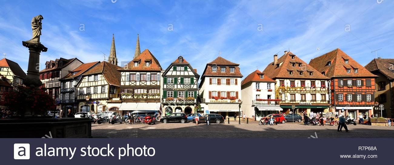 Frankreich, Bas Rhin, Obernai, Marktplatz, die Sainte Odile Brunnen und die alten Corn Exchange House Stockbild