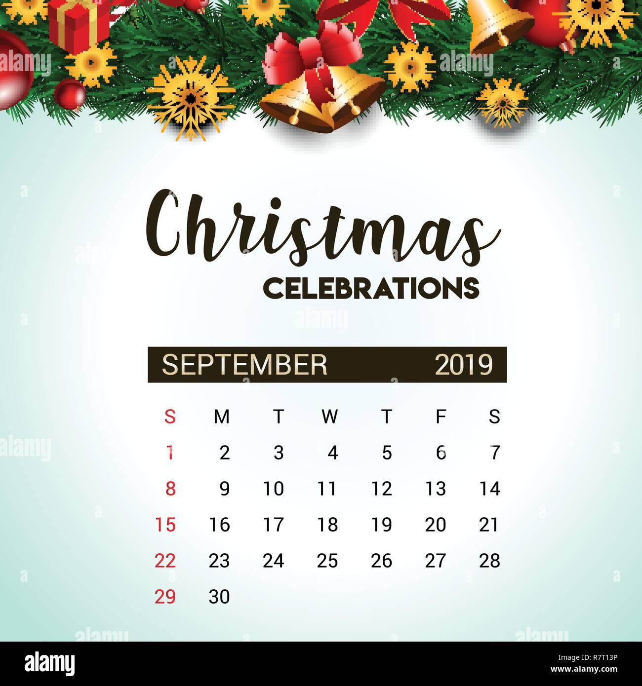 Kalender Weihnachten 2019.2019 September Kalender Design Vorlage Von Weihnachten Oder Neujahr