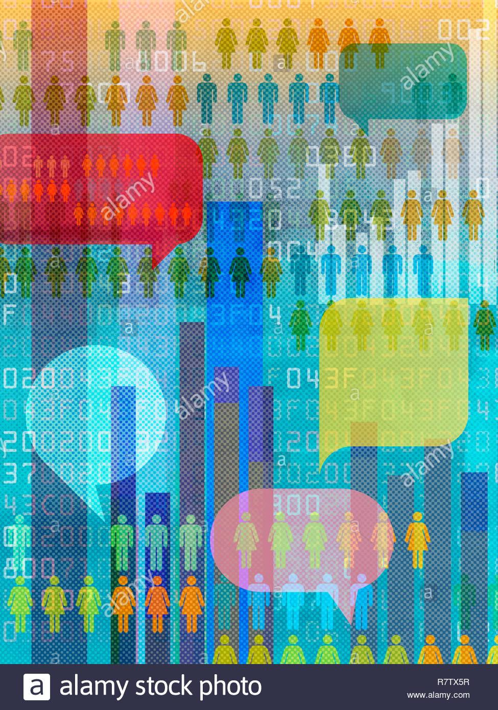 Daten und Kommunikation collage Stockbild