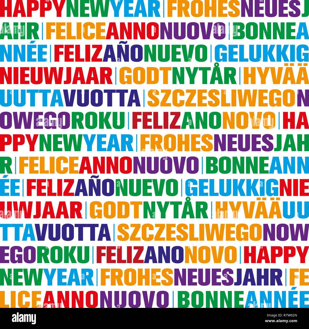 Frohe Weihnachten Und Ein Glückliches Neues Jahr In Allen Sprachen.Grußkarte Auf Spanisch Stockfotos Grußkarte Auf Spanisch Bilder