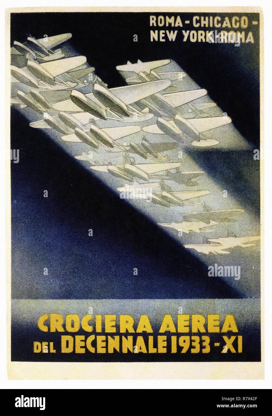 Eine Kreuzfahrt der Dekade 1933 - Vintage Travel Poster Stockbild