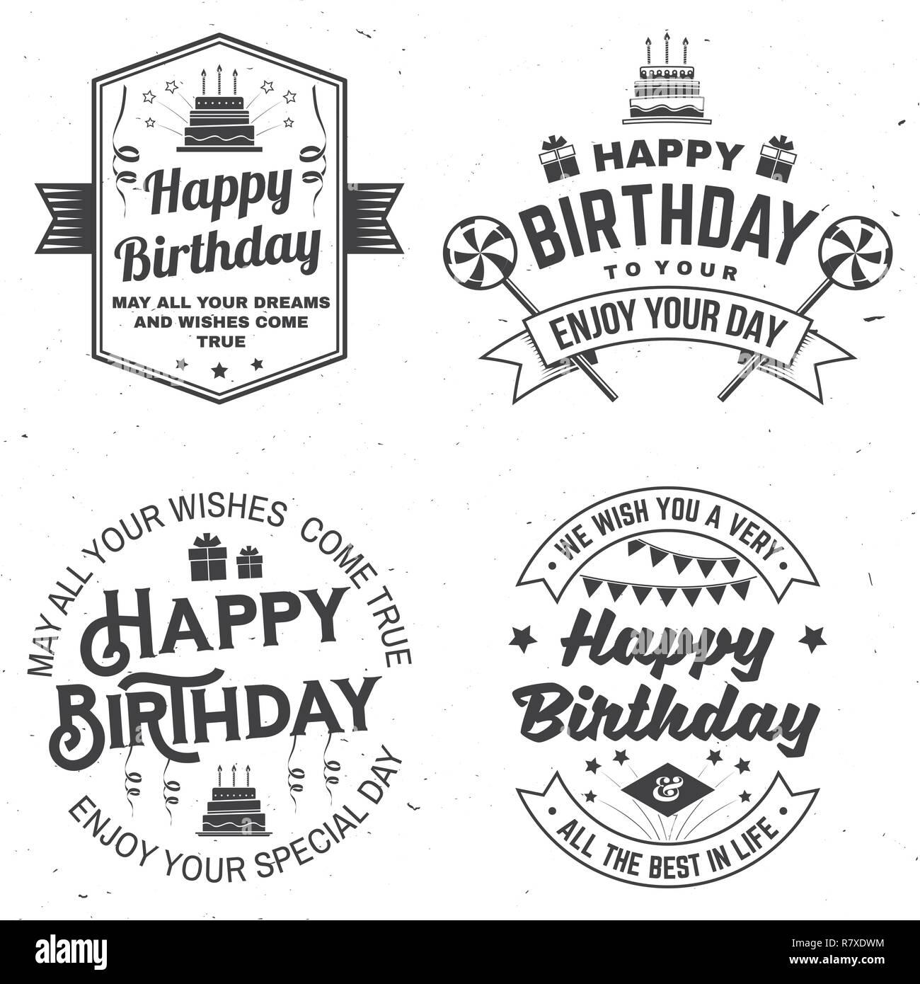 Satz Von Happy Birthday Vorlagen Für Overlay Abzeichen Aufkleber