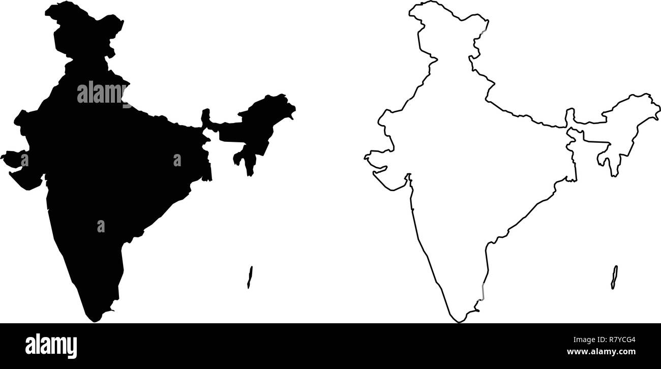India Map Outline Vector Stockfotos & India Map Outline ...